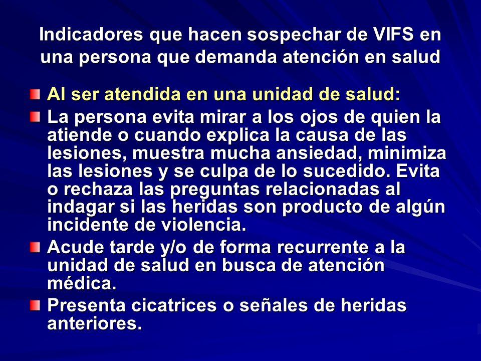 Indicadores que hacen sospechar de VIFS en una persona que demanda atención en salud Al ser atendida en una unidad de salud: La persona evita mirar a
