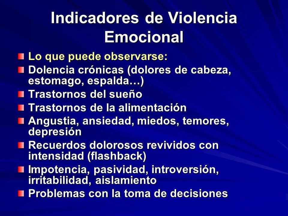 Indicadores de Violencia Emocional Lo que puede observarse: Dolencia crónicas (dolores de cabeza, estomago, espalda…) Trastornos del sueño Trastornos