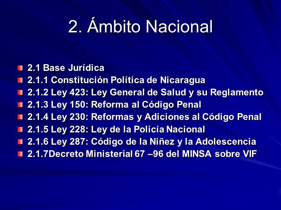 2. Ámbito Nacional 2.1 Base Jurídica 2.1.1 Constitución Política de Nicaragua 2.1.2 Ley 423: Ley General de Salud y su Reglamento 2.1.3 Ley 150: Refor