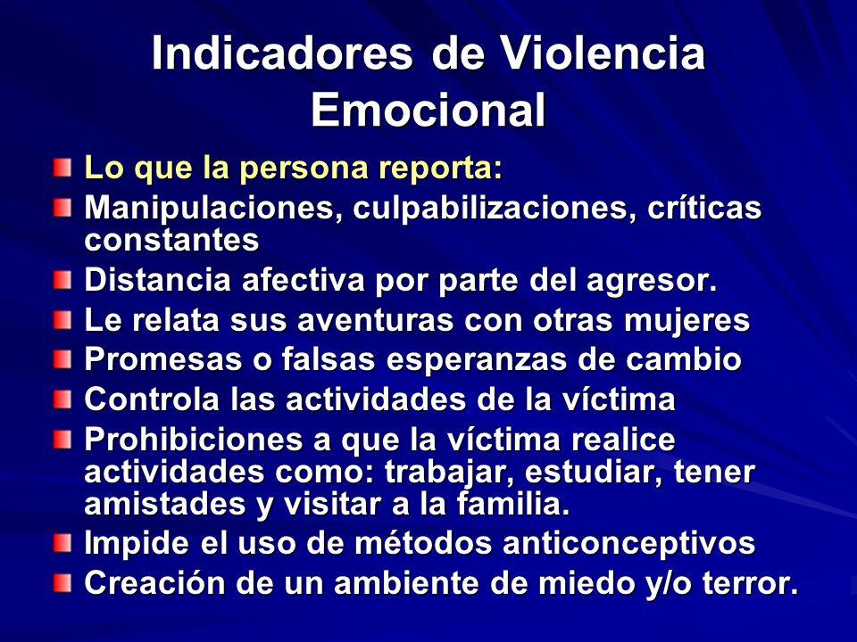Indicadores de Violencia Emocional Lo que la persona reporta: Manipulaciones, culpabilizaciones, críticas constantes Distancia afectiva por parte del