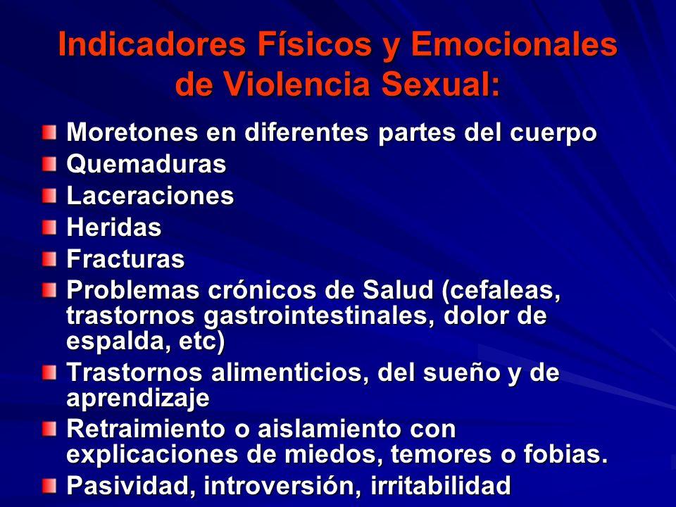 Indicadores Físicos y Emocionales de Violencia Sexual: Moretones en diferentes partes del cuerpo QuemadurasLaceracionesHeridasFracturas Problemas crón