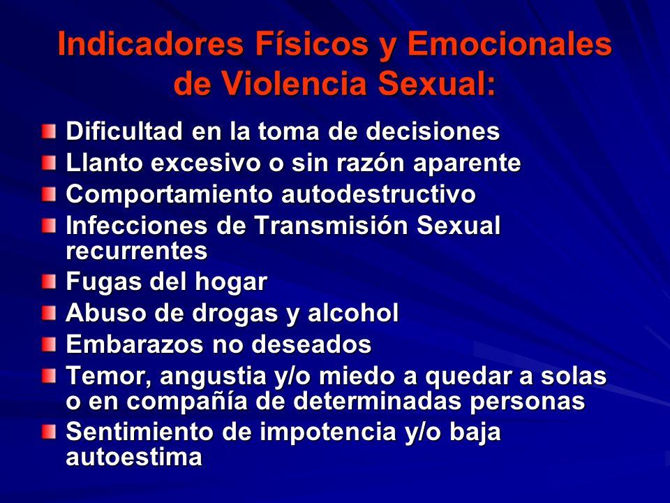 Indicadores Físicos y Emocionales de Violencia Sexual: Dificultad en la toma de decisiones Llanto excesivo o sin razón aparente Comportamiento autodes