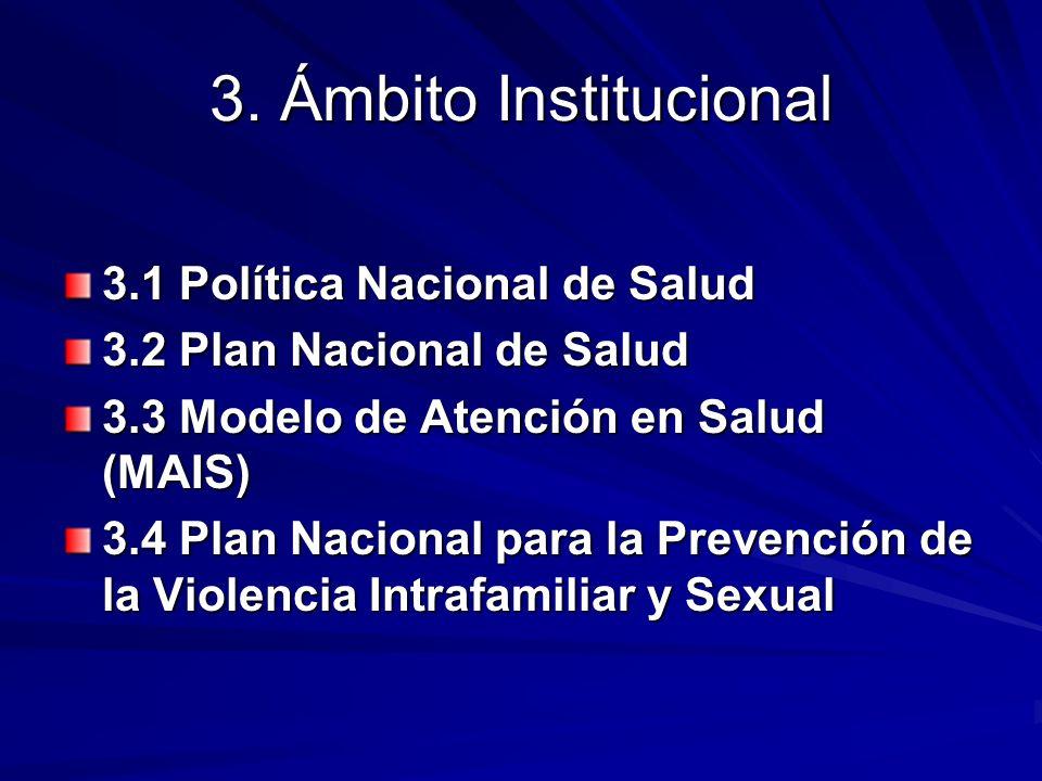 3. Ámbito Institucional 3.1 Política Nacional de Salud 3.2 Plan Nacional de Salud 3.3 Modelo de Atención en Salud (MAIS) 3.4 Plan Nacional para la Pre