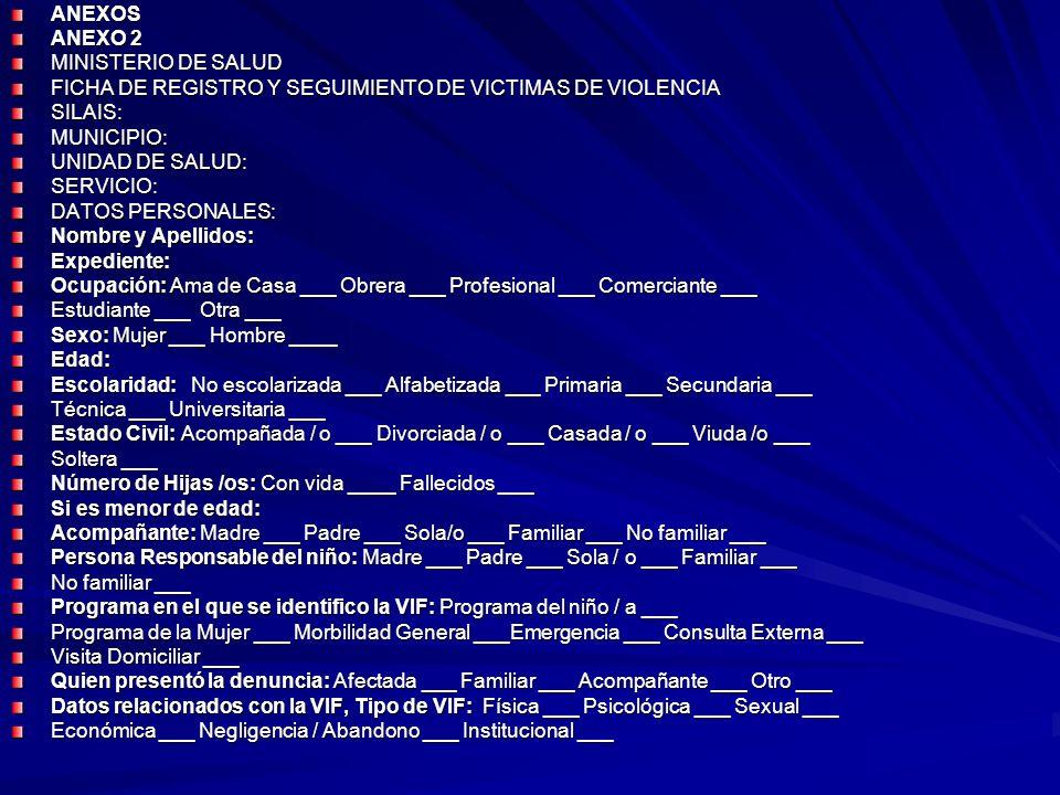 ANEXOS ANEXO 2 MINISTERIO DE SALUD FICHA DE REGISTRO Y SEGUIMIENTO DE VICTIMAS DE VIOLENCIA SILAIS:MUNICIPIO: UNIDAD DE SALUD: SERVICIO: DATOS PERSONA