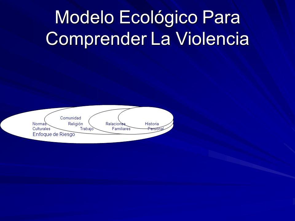Modelo Ecológico Para Comprender La Violencia Comunidad Normas Religión Relaciones Historia Culturales Trabajo Familiares Personal Enfoque de Riesgo