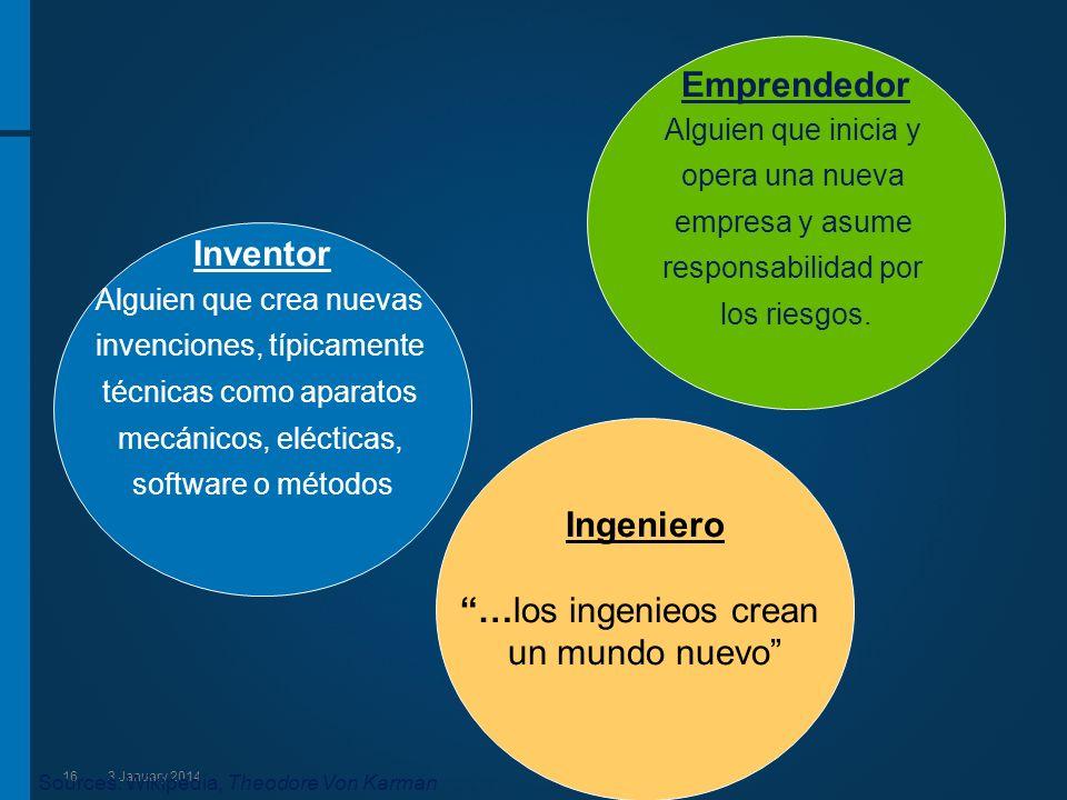 163 January 2014 Inventor Alguien que crea nuevas invenciones, típicamente técnicas como aparatos mecánicos, elécticas, software o métodos Ingeniero …