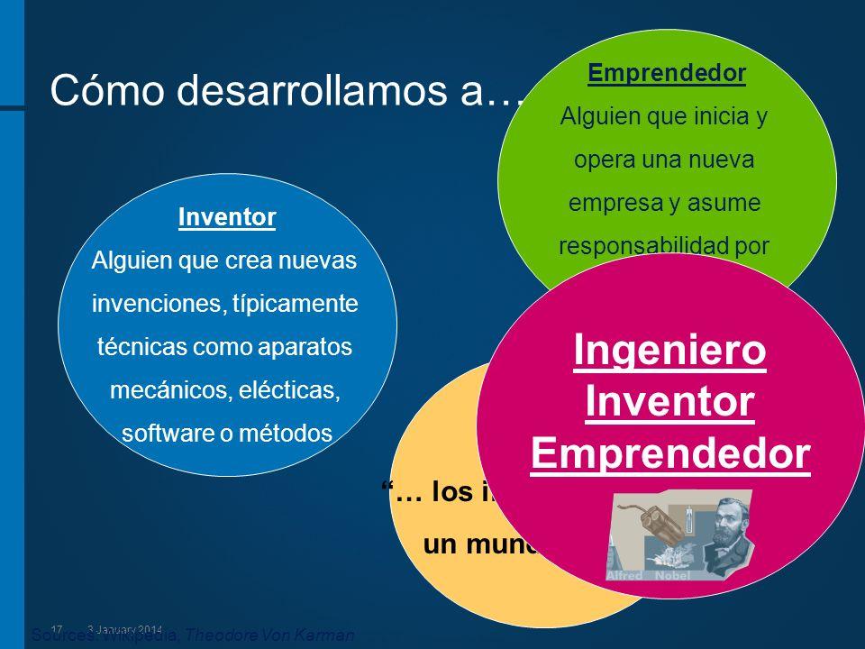 173 January 2014 Cómo desarrollamos a… Inventor Alguien que crea nuevas invenciones, típicamente técnicas como aparatos mecánicos, elécticas, software