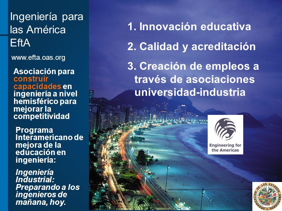 Ingeniería para las América EftA 1. Innovación educativa 2. Calidad y acreditación 3. Creación de empleos a través de asociaciones universidad-industr