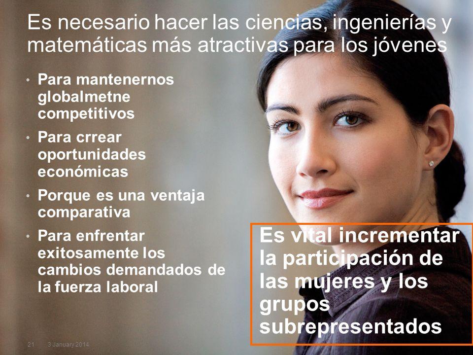 213 January 2014 Es vital incrementar la participación de las mujeres y los grupos subrepresentados Para mantenernos globalmetne competitivos Para crr