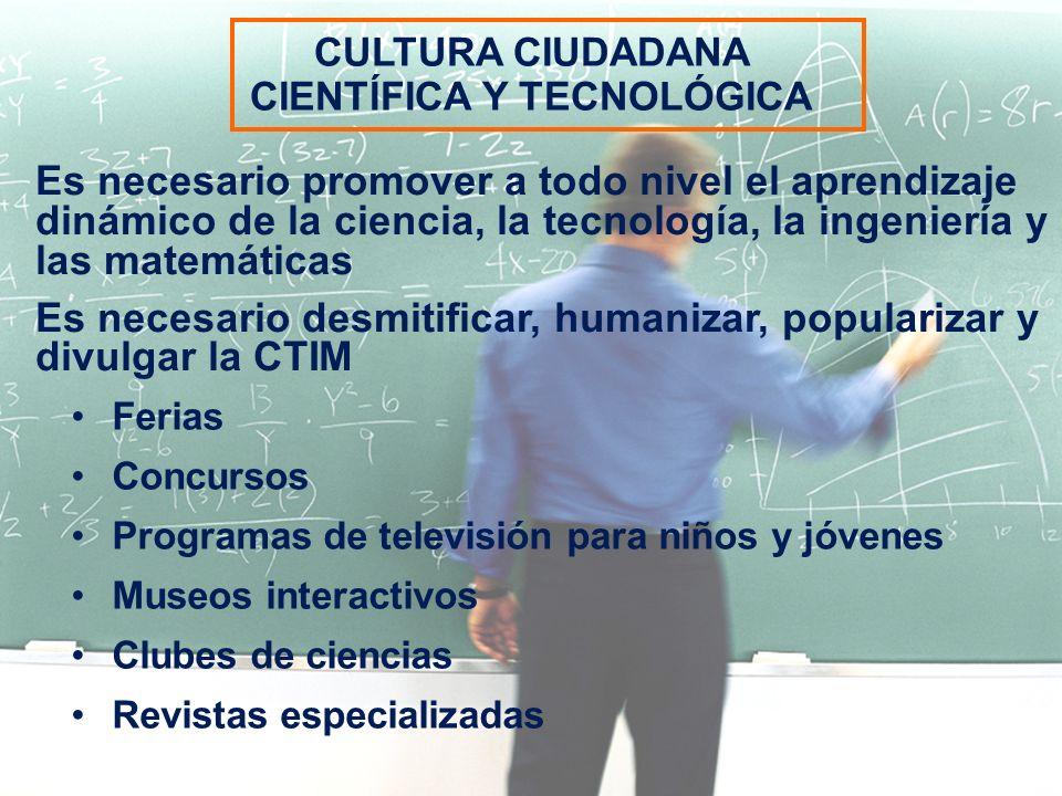 Ferias Concursos Programas de televisión para niños y jóvenes Museos interactivos Clubes de ciencias Revistas especializadas Es necesario promover a t
