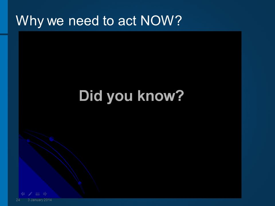 243 January 2014 Why we need to act NOW?