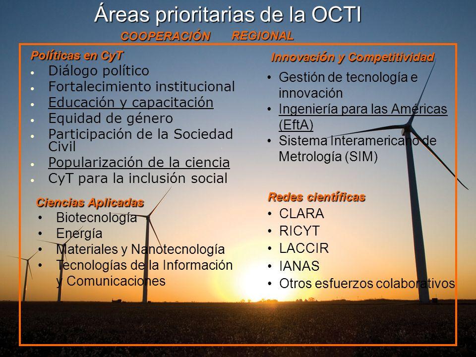 Áreas prioritarias de la OCTI Pol í ticas en CyT Diálogo político Fortalecimiento institucional Educación y capacitación Equidad de género Participaci