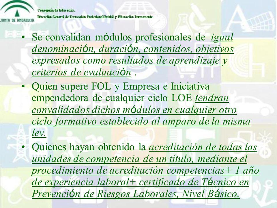 Se convalidan m ó dulos profesionales de igual denominaci ó n, duraci ó n, contenidos, objetivos expresados como resultados de aprendizaje y criterios