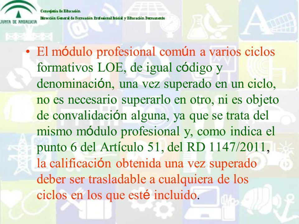 El m ó dulo profesional com ú n a varios ciclos formativos LOE, de igual c ó digo y denominaci ó n, una vez superado en un ciclo, no es necesario supe