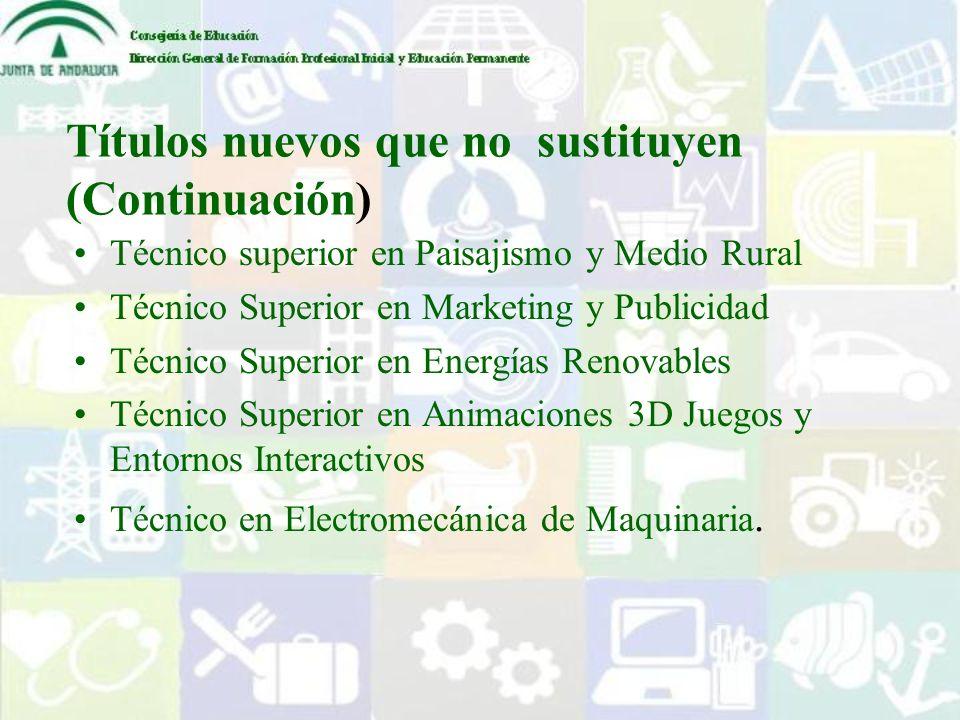 Títulos nuevos que no sustituyen (Continuación) Técnico superior en Paisajismo y Medio Rural Técnico Superior en Marketing y Publicidad Técnico Superi