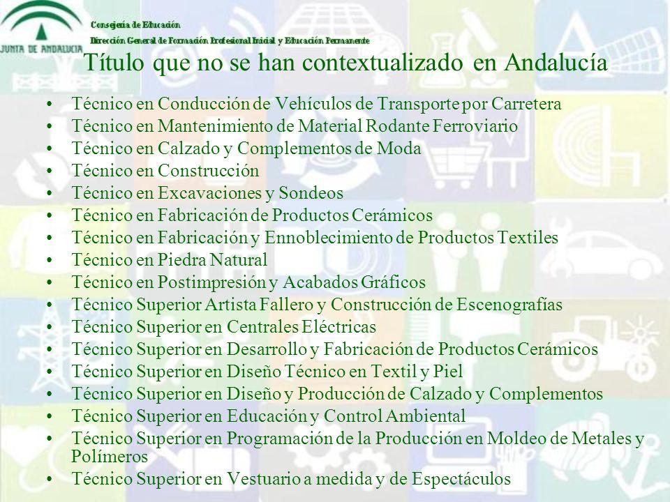 Título que no se han contextualizado en Andalucía Técnico en Conducción de Vehículos de Transporte por Carretera Técnico en Mantenimiento de Material