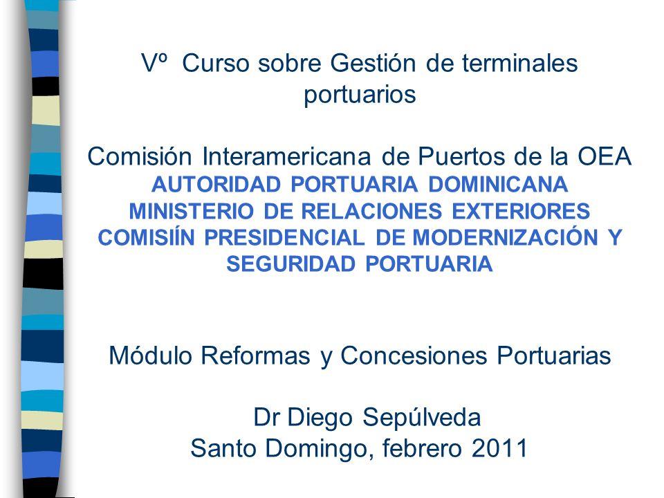 Vº Curso sobre Gestión de terminales portuarios Comisión Interamericana de Puertos de la OEA AUTORIDAD PORTUARIA DOMINICANA MINISTERIO DE RELACIONES E