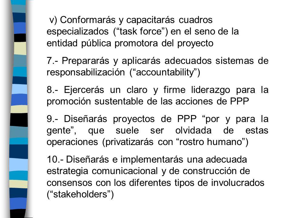 v) Conformarás y capacitarás cuadros especializados (task force) en el seno de la entidad pública promotora del proyecto 7.- Prepararás y aplicarás ad