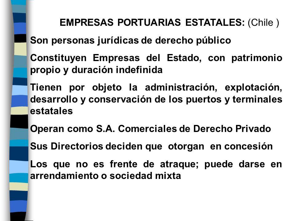 EMPRESAS PORTUARIAS ESTATALES: (Chile ) Son personas jurídicas de derecho público Constituyen Empresas del Estado, con patrimonio propio y duración in