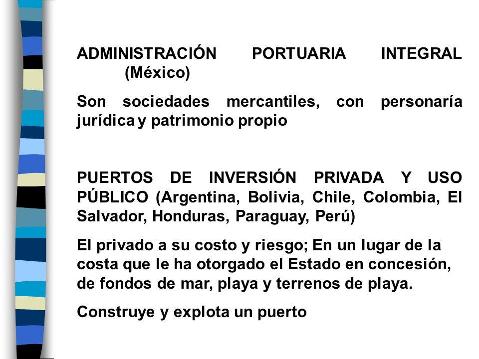ADMINISTRACIÓN PORTUARIA INTEGRAL (México) Son sociedades mercantiles, con personaría jurídica y patrimonio propio PUERTOS DE INVERSIÓN PRIVADA Y USO