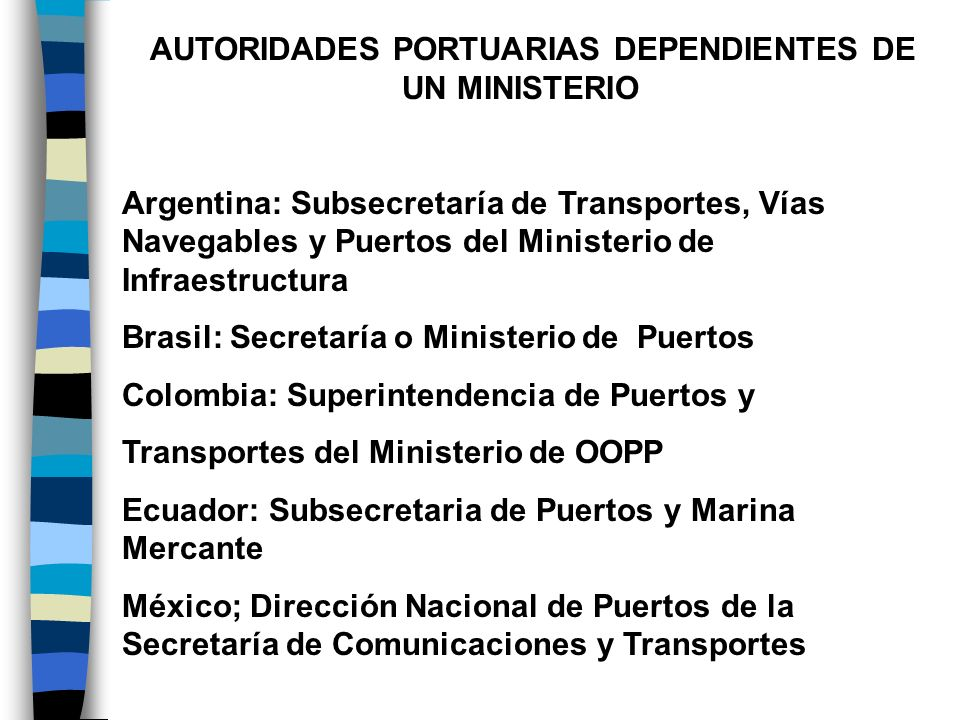 AUTORIDADES AUTÓNOMAS Autoridad Nacional Portuaria de Perú AUTORIDADES DE DOBLE JURISDICCIÓN Autoridad Marítima Portuaria de Panamá Autoridad Marítima Portuaria de Venezuela Autoridad Marítimo Portuaria El Salvador SIN AUTORIDAD NACIONAL Chile