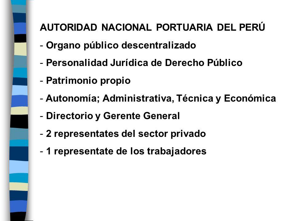AUTORIDAD NACIONAL PORTUARIA DEL PERÚ - Organo público descentralizado - Personalidad Jurídica de Derecho Público - Patrimonio propio - Autonomía; Adm