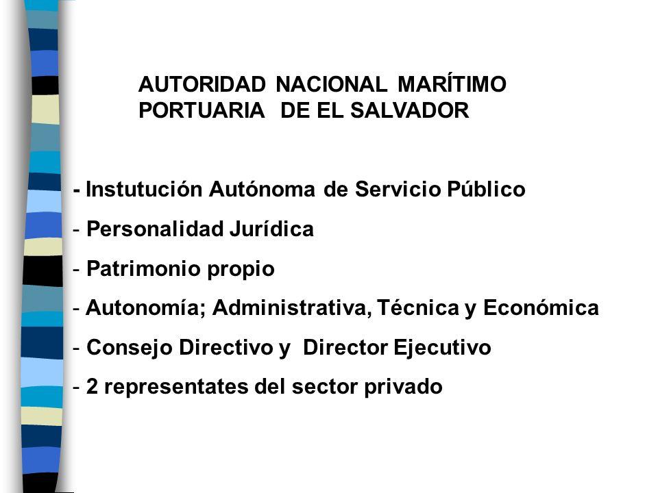 AUTORIDAD NACIONAL MARÍTIMO PORTUARIA DE EL SALVADOR - Instutución Autónoma de Servicio Público - Personalidad Jurídica - Patrimonio propio - Autonomí