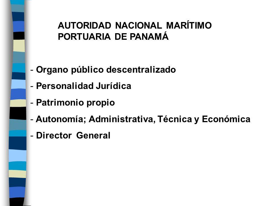 AUTORIDAD NACIONAL MARÍTIMO PORTUARIA DE PANAMÁ - Organo público descentralizado - Personalidad Jurídica - Patrimonio propio - Autonomía; Administrati