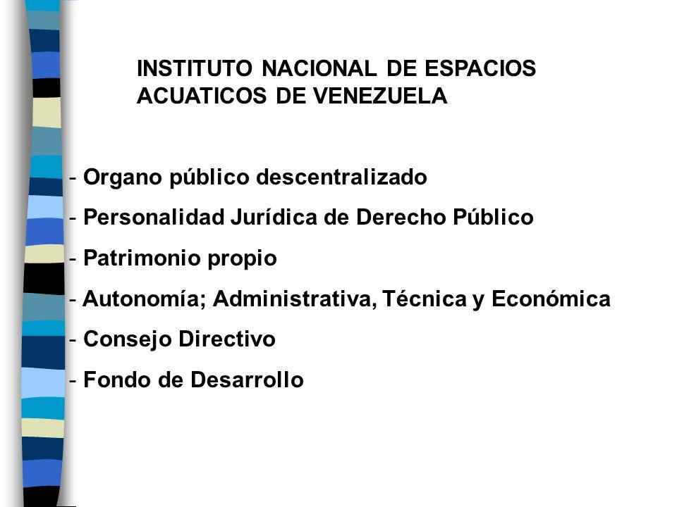 INSTITUTO NACIONAL DE ESPACIOS ACUATICOS DE VENEZUELA - Organo público descentralizado - Personalidad Jurídica de Derecho Público - Patrimonio propio