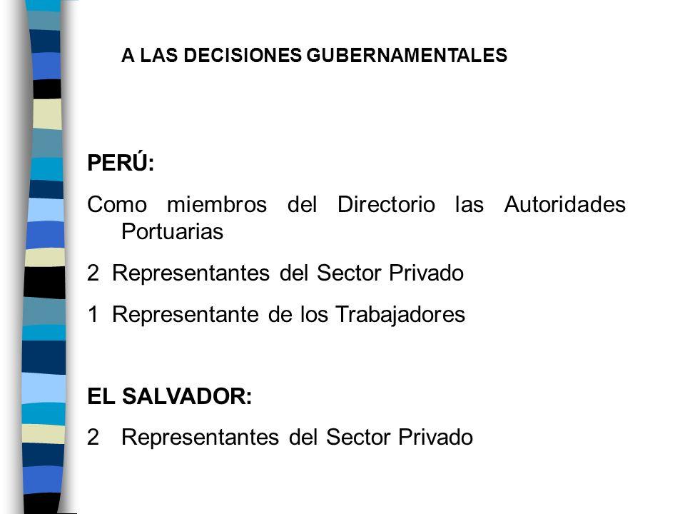 A LAS DECISIONES GUBERNAMENTALES PERÚ: Como miembros del Directorio las Autoridades Portuarias 2 Representantes del Sector Privado 1 Representante de
