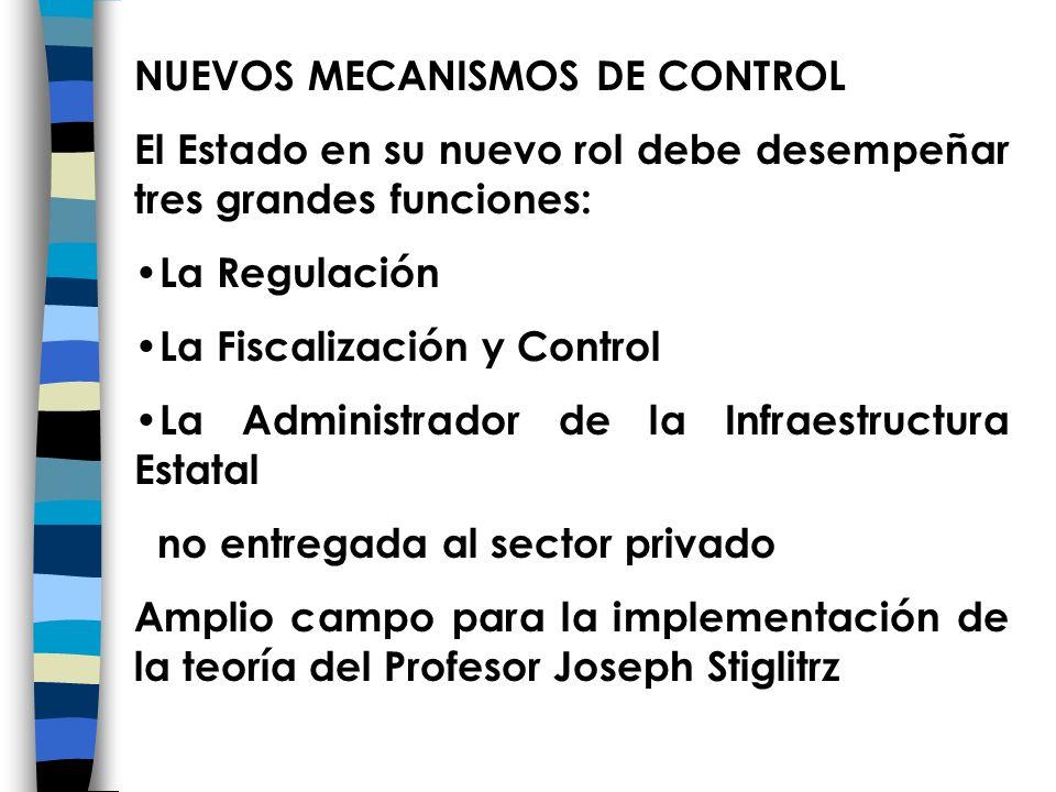 NUEVOS MECANISMOS DE CONTROL El Estado en su nuevo rol debe desempeñar tres grandes funciones: La Regulación La Fiscalización y Control La Administrad
