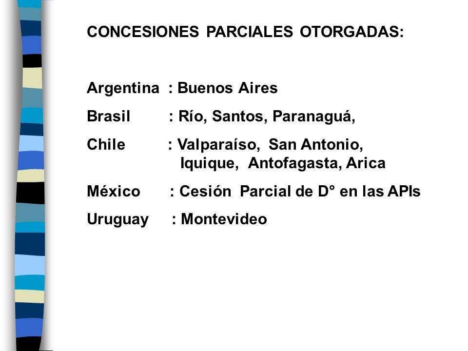 CONCESIONES PARCIALES OTORGADAS: Argentina : Buenos Aires Brasil : Río, Santos, Paranaguá, Chile : Valparaíso, San Antonio, Iquique, Antofagasta, Aric