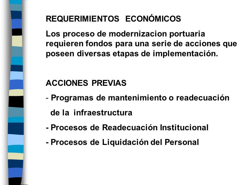 REQUERIMIENTOS ECONÓMICOS Los proceso de modernizacion portuaria requieren fondos para una serie de acciones que poseen diversas etapas de implementac