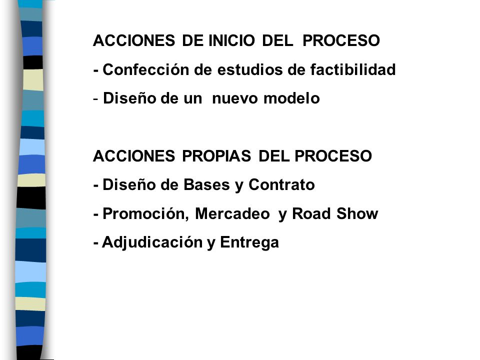 ACCIONES DE INICIO DEL PROCESO - Confección de estudios de factibilidad - Diseño de un nuevo modelo ACCIONES PROPIAS DEL PROCESO - Diseño de Bases y C