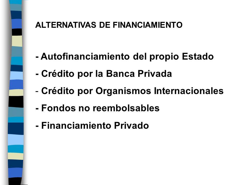 ALTERNATIVAS DE FINANCIAMIENTO - Autofinanciamiento del propio Estado - Crédito por la Banca Privada - Crédito por Organismos Internacionales - Fondos