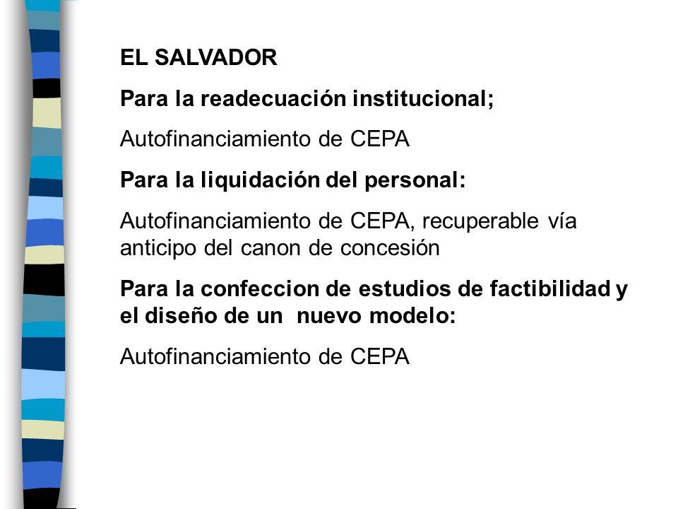 EL SALVADOR Para la readecuación institucional; Autofinanciamiento de CEPA Para la liquidación del personal: Autofinanciamiento de CEPA, recuperable v
