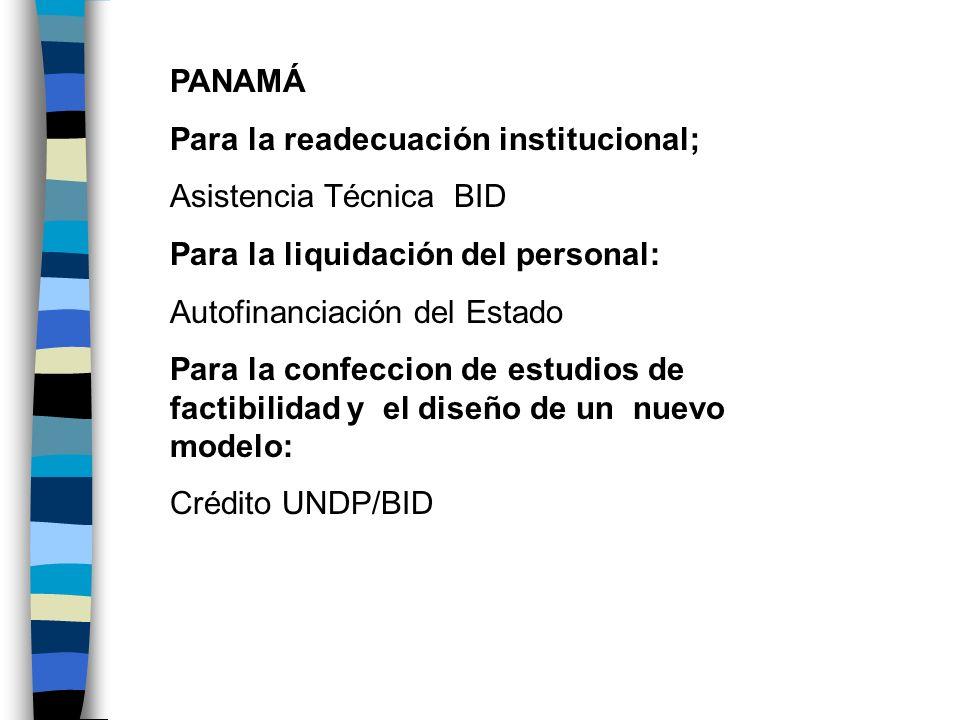 PANAMÁ Para la readecuación institucional; Asistencia Técnica BID Para la liquidación del personal: Autofinanciación del Estado Para la confeccion de