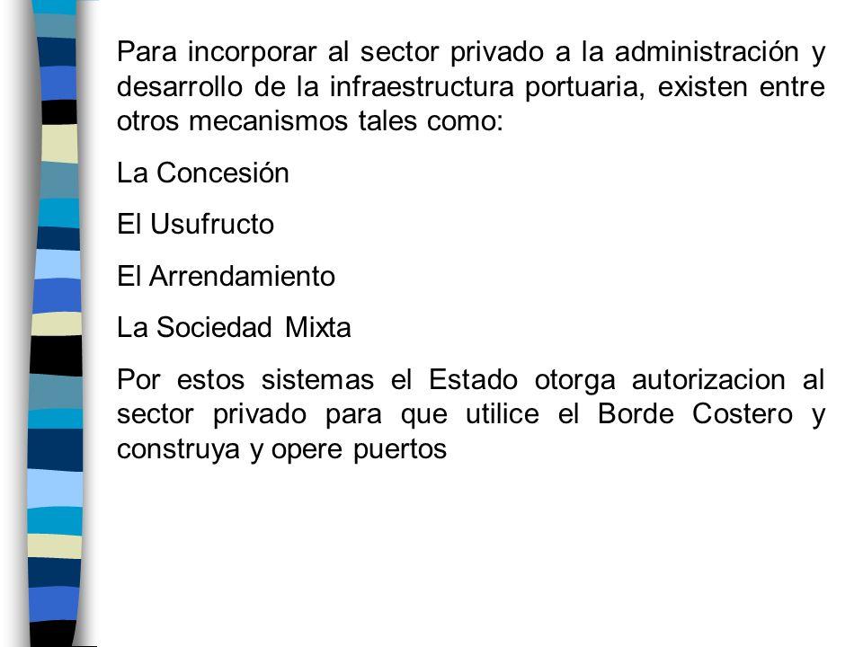 Para incorporar al sector privado a la administración y desarrollo de la infraestructura portuaria, existen entre otros mecanismos tales como: La Conc