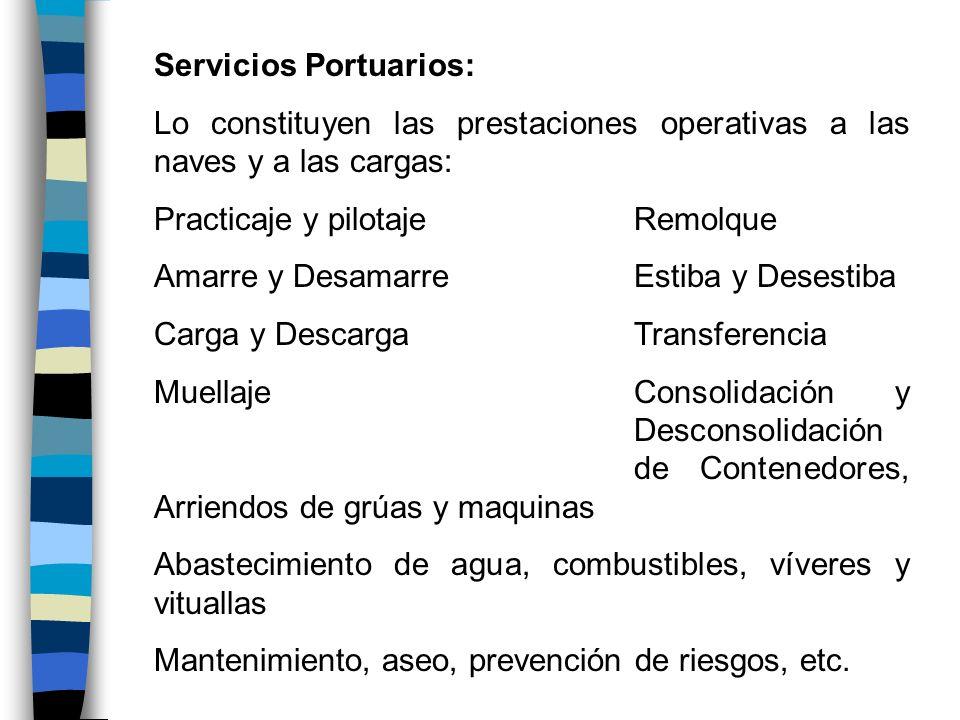 Servicios Portuarios: Lo constituyen las prestaciones operativas a las naves y a las cargas: Practicaje y pilotajeRemolque Amarre y DesamarreEstiba y