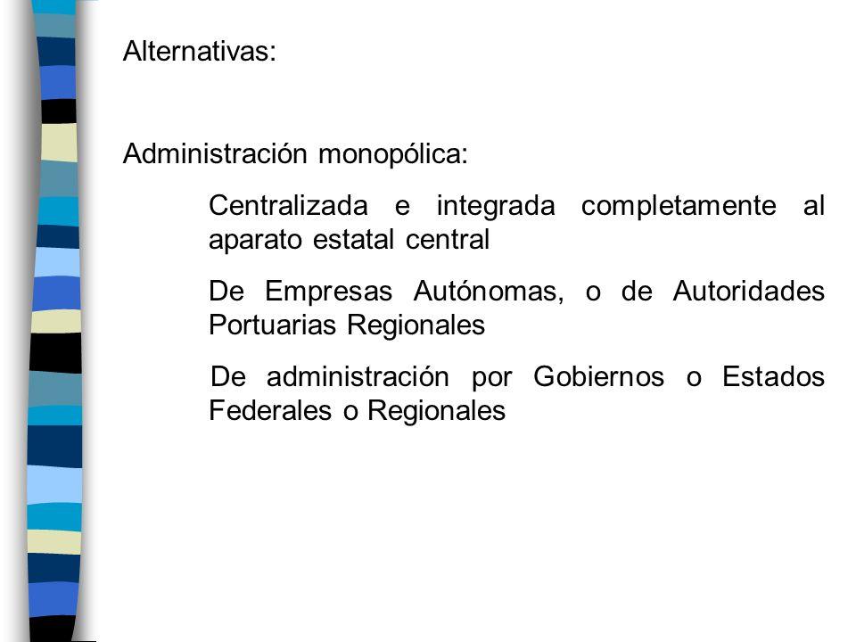 Alternativas: Administración monopólica: Centralizada e integrada completamente al aparato estatal central De Empresas Autónomas, o de Autoridades Por