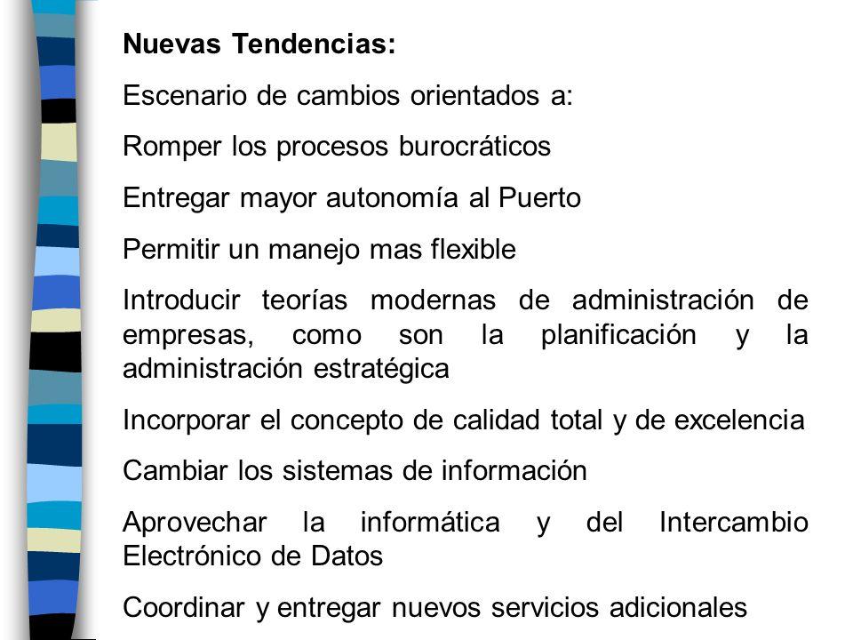 Nuevas Tendencias: Escenario de cambios orientados a: Romper los procesos burocráticos Entregar mayor autonomía al Puerto Permitir un manejo mas flexi