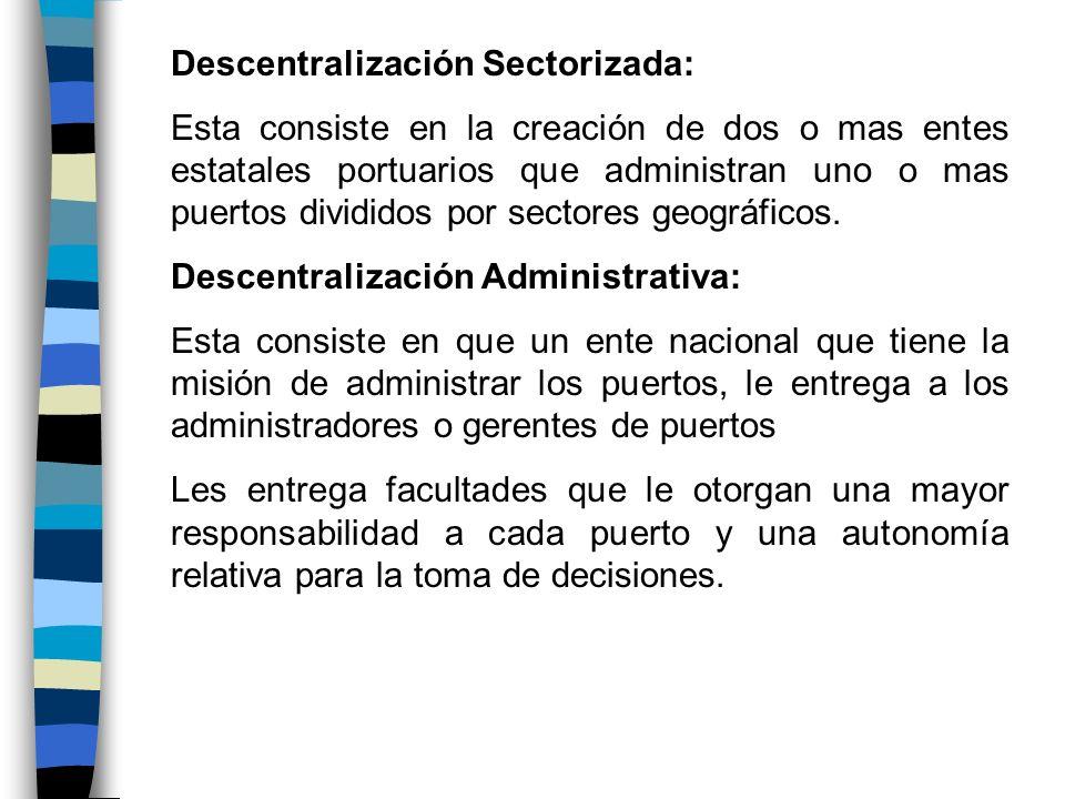 Descentralización Sectorizada: Esta consiste en la creación de dos o mas entes estatales portuarios que administran uno o mas puertos divididos por se