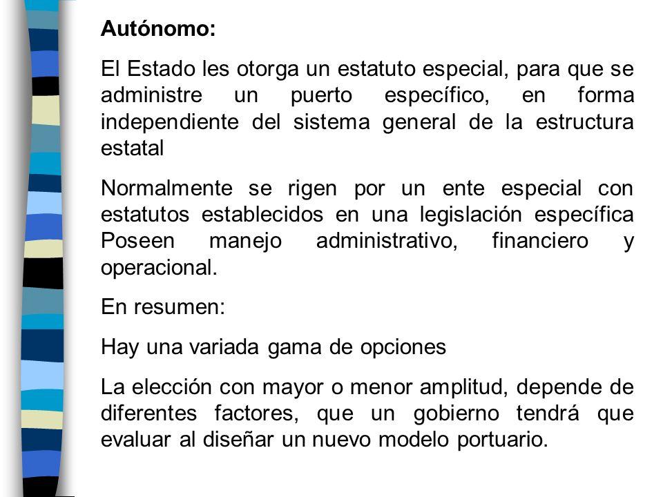 Autónomo: El Estado les otorga un estatuto especial, para que se administre un puerto específico, en forma independiente del sistema general de la est