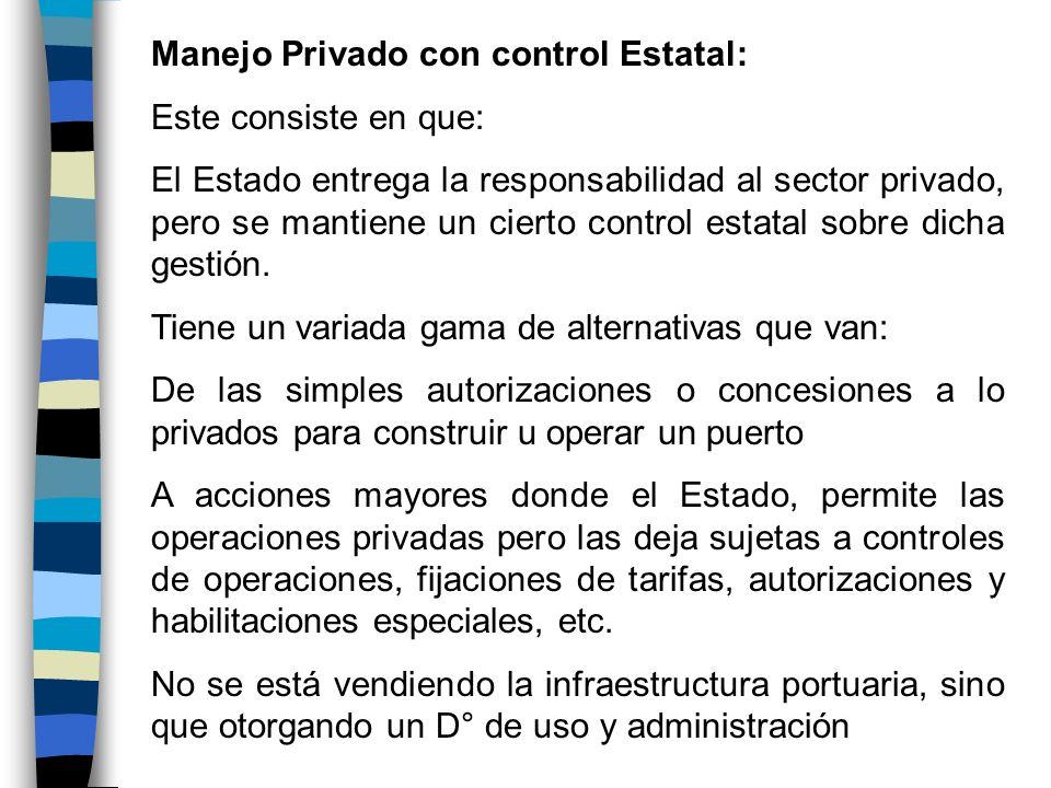 Manejo Privado con control Estatal: Este consiste en que: El Estado entrega la responsabilidad al sector privado, pero se mantiene un cierto control e