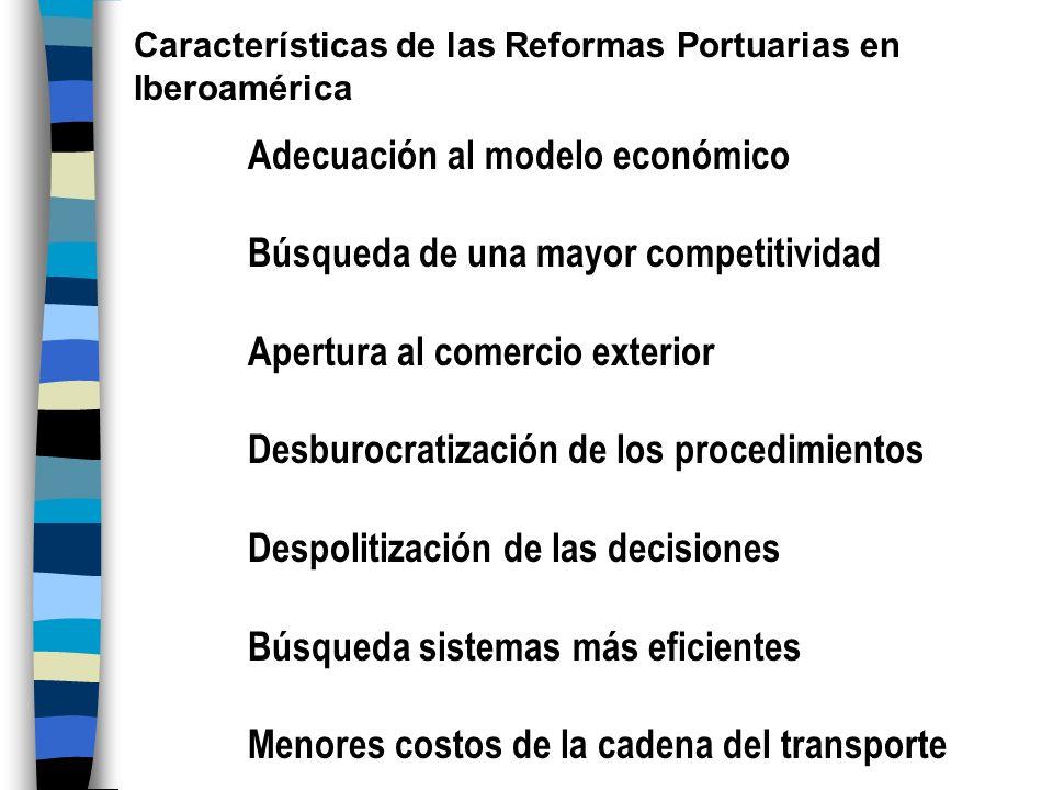 Adecuación al modelo económico Búsqueda de una mayor competitividad Apertura al comercio exterior Desburocratización de los procedimientos Despolitiza