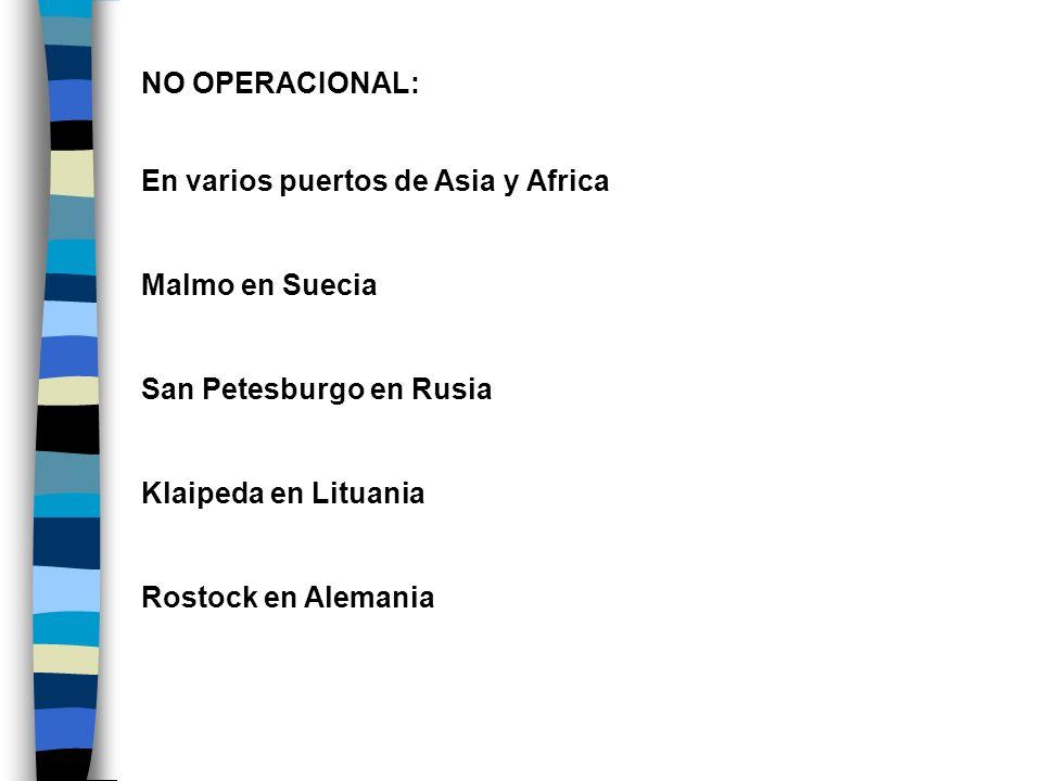 NO OPERACIONAL: En varios puertos de Asia y Africa Malmo en Suecia San Petesburgo en Rusia Klaipeda en Lituania Rostock en Alemania
