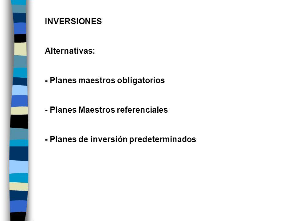 INVERSIONES Alternativas: - Planes maestros obligatorios - Planes Maestros referenciales - Planes de inversión predeterminados