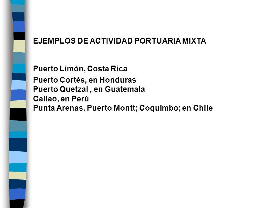 EJEMPLOS DE ACTIVIDAD PORTUARIA MIXTA Puerto Limón, Costa Rica Puerto Cortés, en Honduras Puerto Quetzal, en Guatemala Callao, en Perú Punta Arenas, P