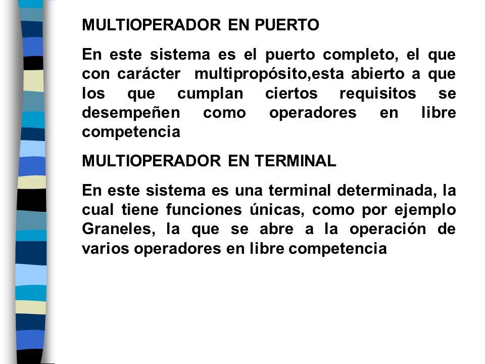 MULTIOPERADOR EN PUERTO En este sistema es el puerto completo, el que con carácter multipropósito,esta abierto a que los que cumplan ciertos requisito