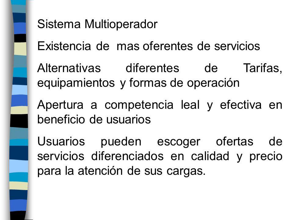 Sistema Multioperador Existencia de mas oferentes de servicios Alternativas diferentes de Tarifas, equipamientos y formas de operación Apertura a comp